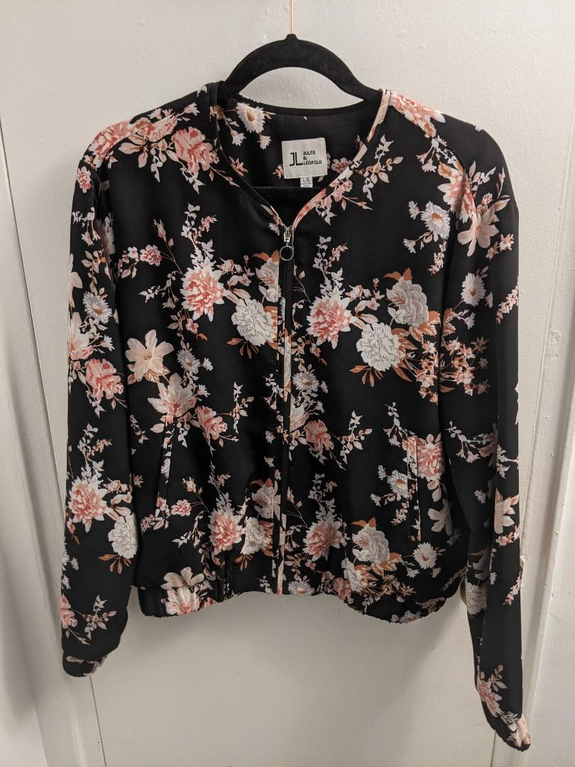 Pink and Black Floral Print Bomber Jacket (L)
