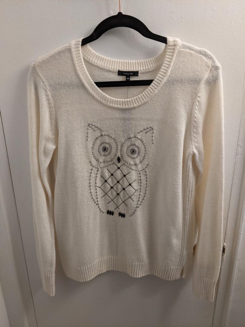RW&CO Cream Sweater with Owl Design (M)