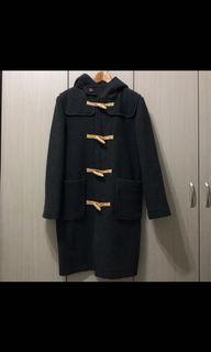 古著/LOG CABIN超暖和深灰色內裡藍綠格紋麻繩牛角80%毛料牛角釦外套牛角扣大衣