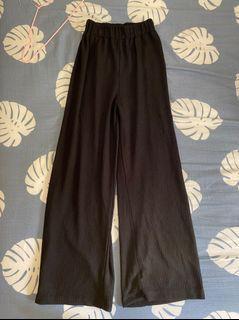 坑條鬆緊黑色寬褲