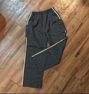 二手古著仿麻感碳色寬版長褲
