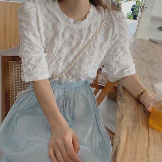韓國🇰🇷 花邊領 白色 皺皺 短版 上衣