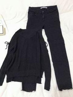 韓系 超值兩件組/鏤空綁帶針織衫+someway刷破抽鬚牛仔小腳褲