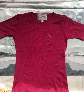 古董 VERSACE YOUNG 凡賽斯 義大利 精品 低調 奢華 女童 男童 嬰幼 洗鍊 桃紅 上衣 T恤 短袖 背心