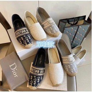Dior麻底帆布鞋-深藍