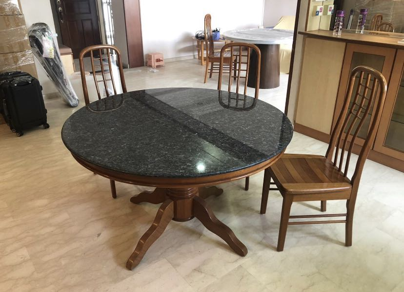 Granite Round Dining Table Set 6 Solid, Round Dining Room Table And Chairs