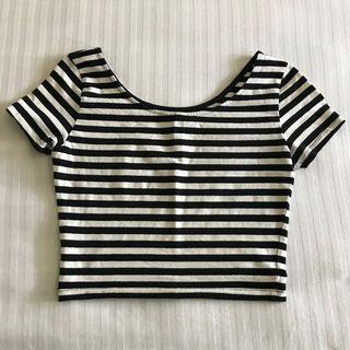 H&M B&W Stripe Crop Top - XS
