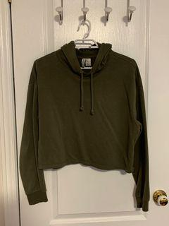 H&M olive green cropped hoodie