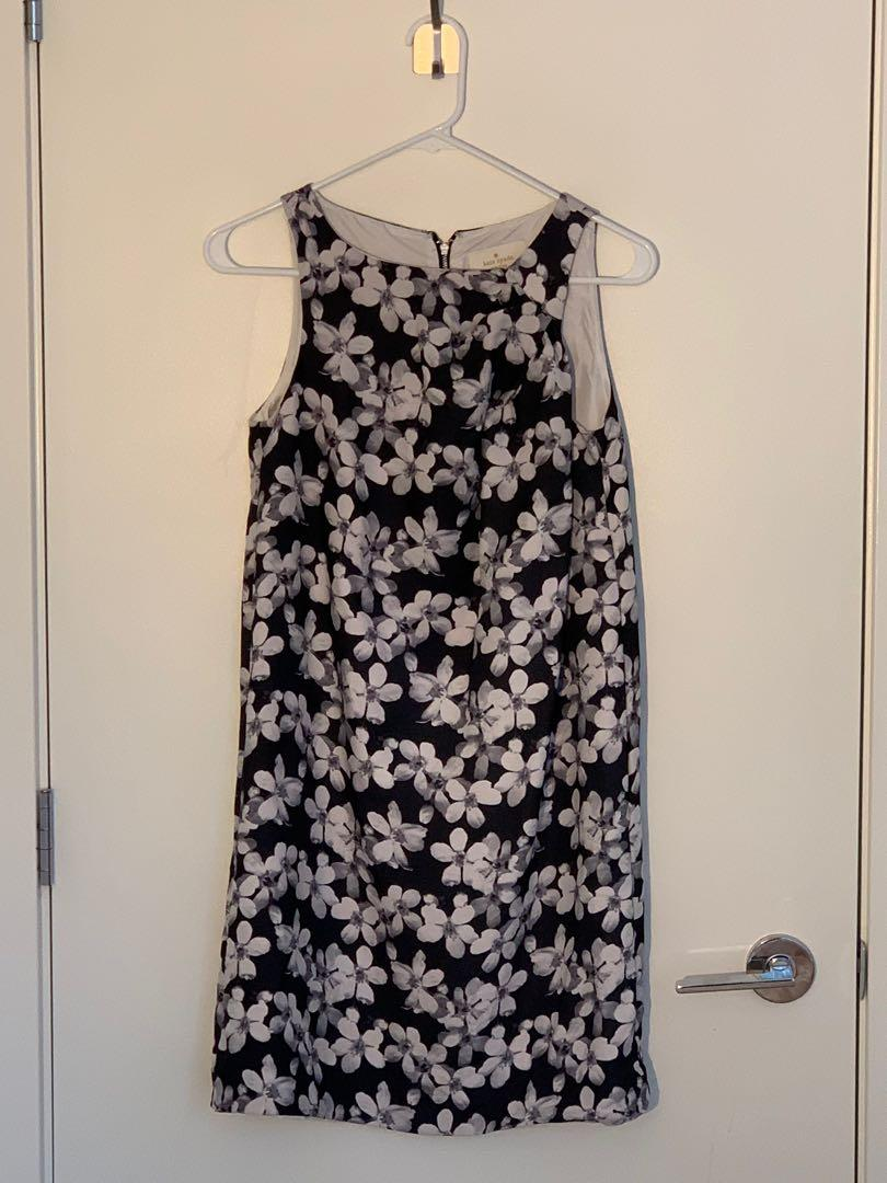 Kate Spade Floral Dress, Size 2, Black and white
