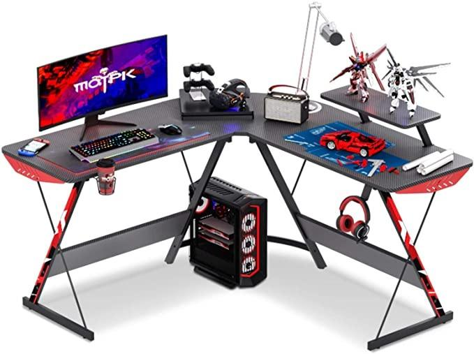"MOTPK L Shaped Gaming Desk 51"" L Shaped Desk, Computer Corner Desk, Gaming Desk Table with Large Monitor Riser Stand for Home Office, Sturdy Writing Workstation, Gaming Desk with Shelf, Black"
