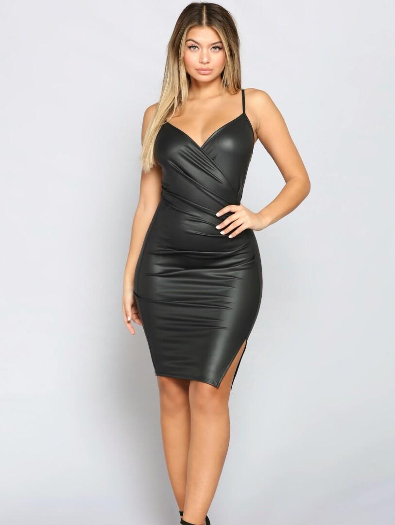 New Black Faux Leather Dress