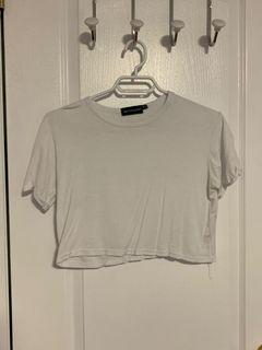 Pretty Little Thing cropped white tee