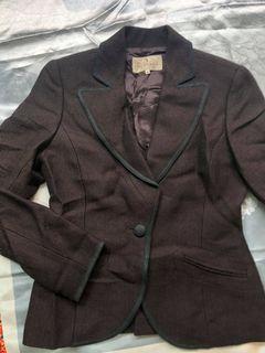 Trussardi DA 楚薩迪 義大利 精品 低調 奢華 洗鍊 咖啡 質感 秋冬 100% 毛呢 西裝 外套 套裝