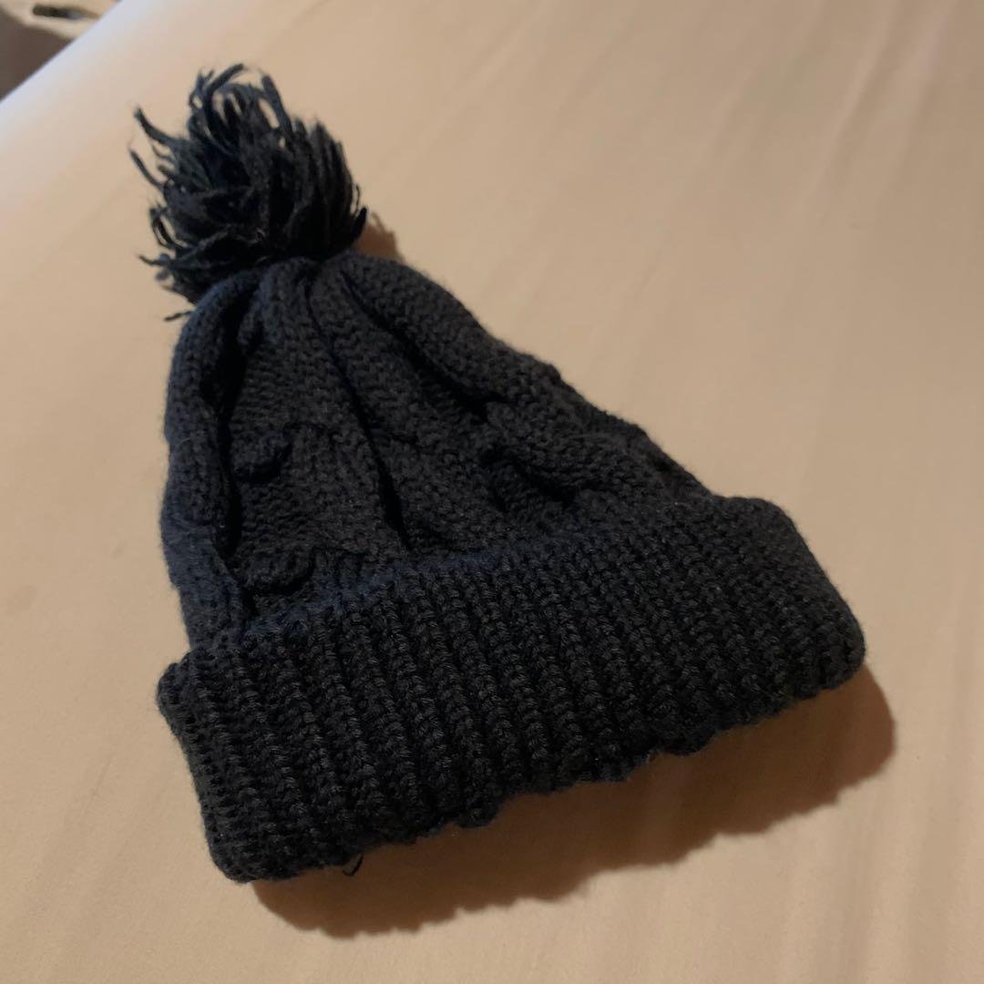 黑色麻花毛帽