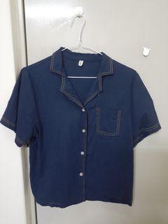深藍色車線短袖襯衫