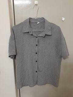 黑白格紋短袖襯衫
