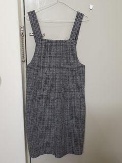 黑白格紋吊帶裙