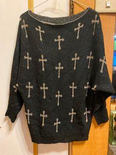 真織金蔥十字長袖上衣