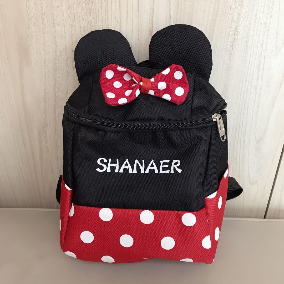 全新迪士尼米妮兒童防丟失後背包 兒童走失背包 幼稚園兒童書包 付拉繩 Disney Minnie  兒童背包