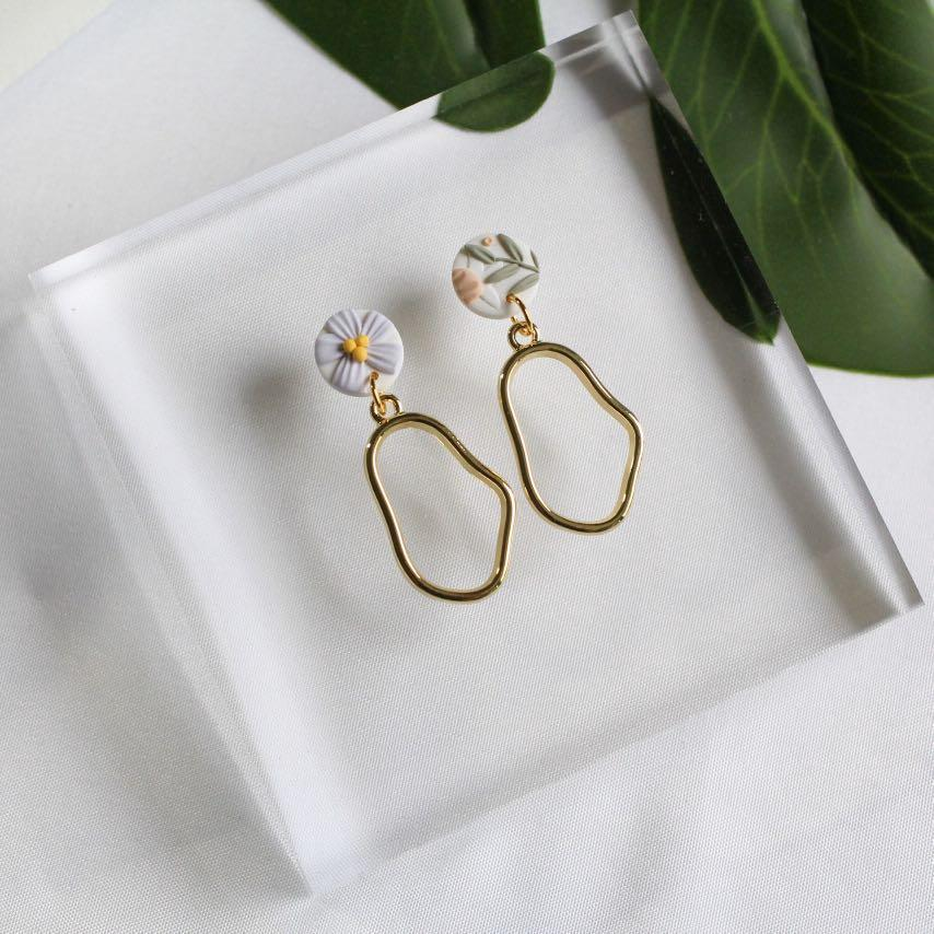PEBBLE Earrings in Faux Gold Handmade Polymer Clay Jewellery Gold Plated