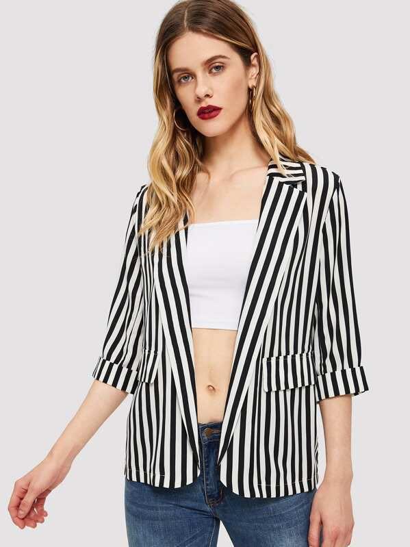 Women's cuffed sleeve light striped blazer