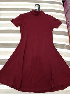 Forever 21 DRESS Maroon Dress Cheongsam Turtleneck