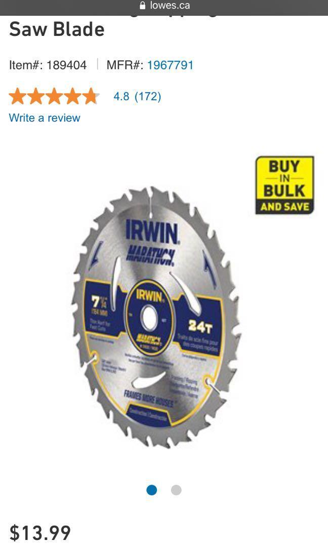 Irwin skill saw blades