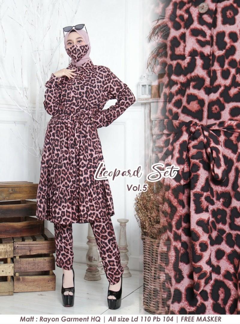 Leopard Set Vol.5 (Pink Coklat) Rp165.000. Matt Rayon Garment HQ, FREE MASKER, ld 110 cm, set atasan&celana panjang 96 Cm
