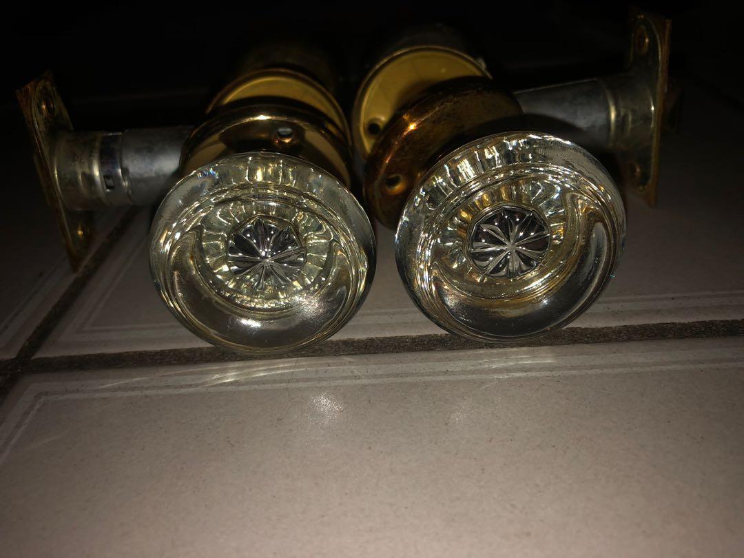 Pair Of Vintage Glass Door Handles