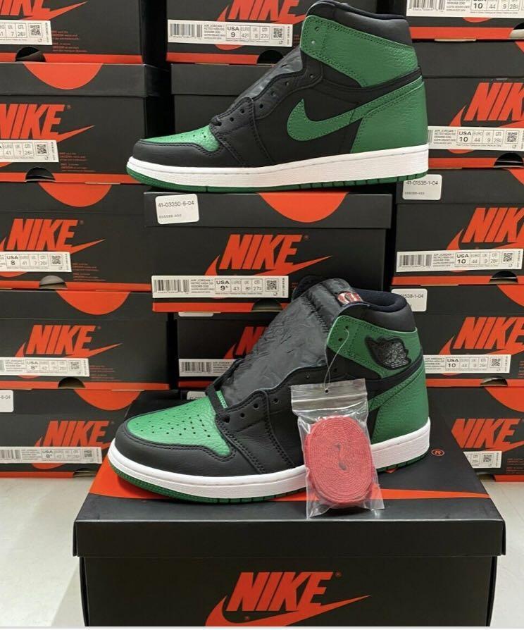 Pine green jordans 1's