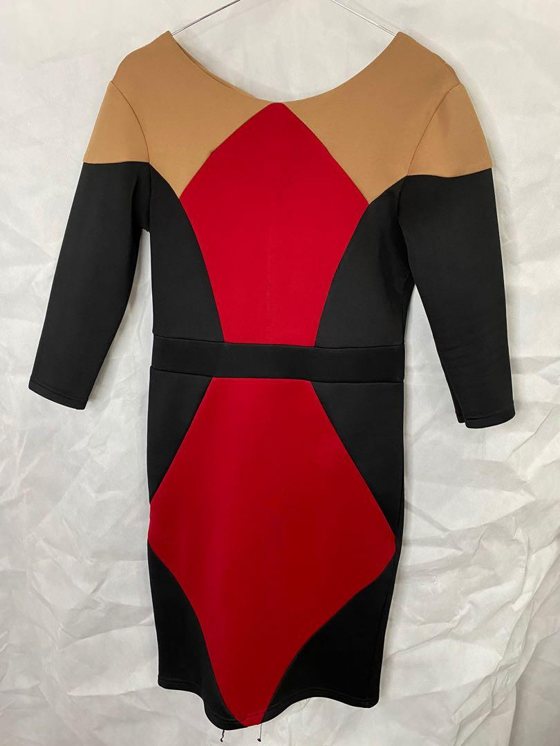 Scuba dress / black red cream dress