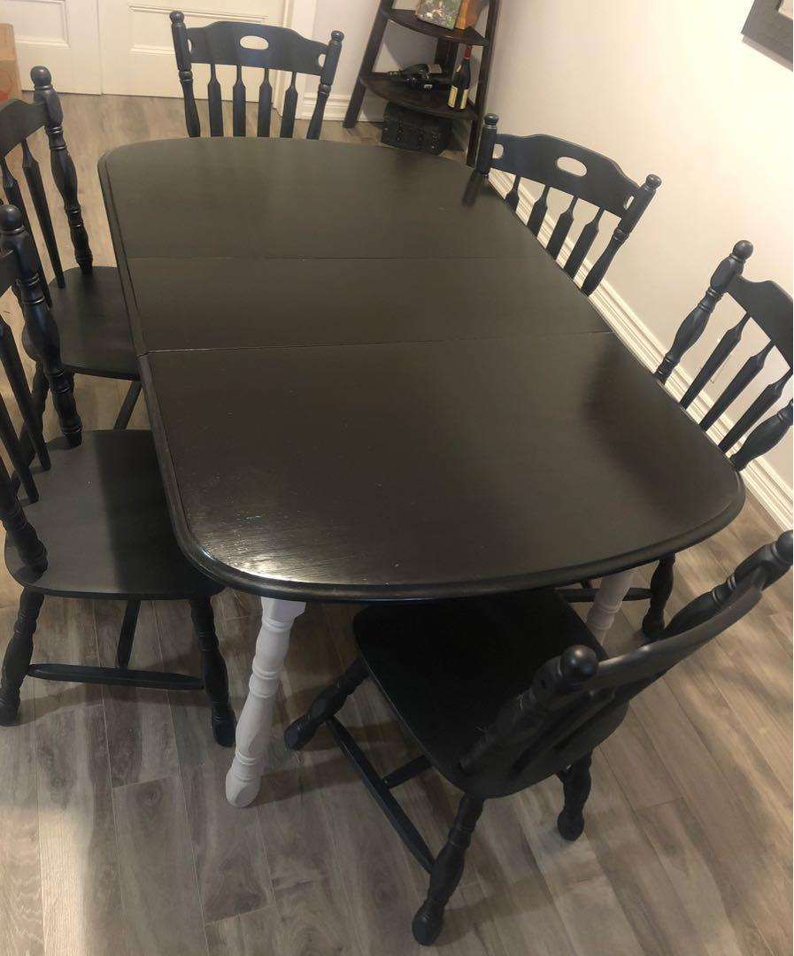 Solid maple painted dining set & 6 chairs