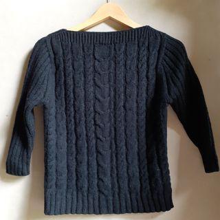 Sweater Kepang, Cabble, Sweater Rajut Hitam