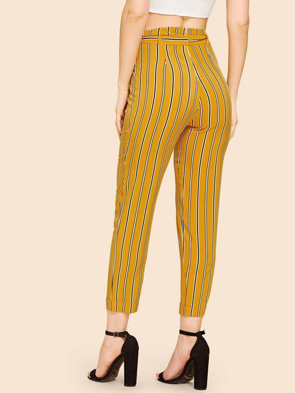 Women's tie-belt striped yellow pants
