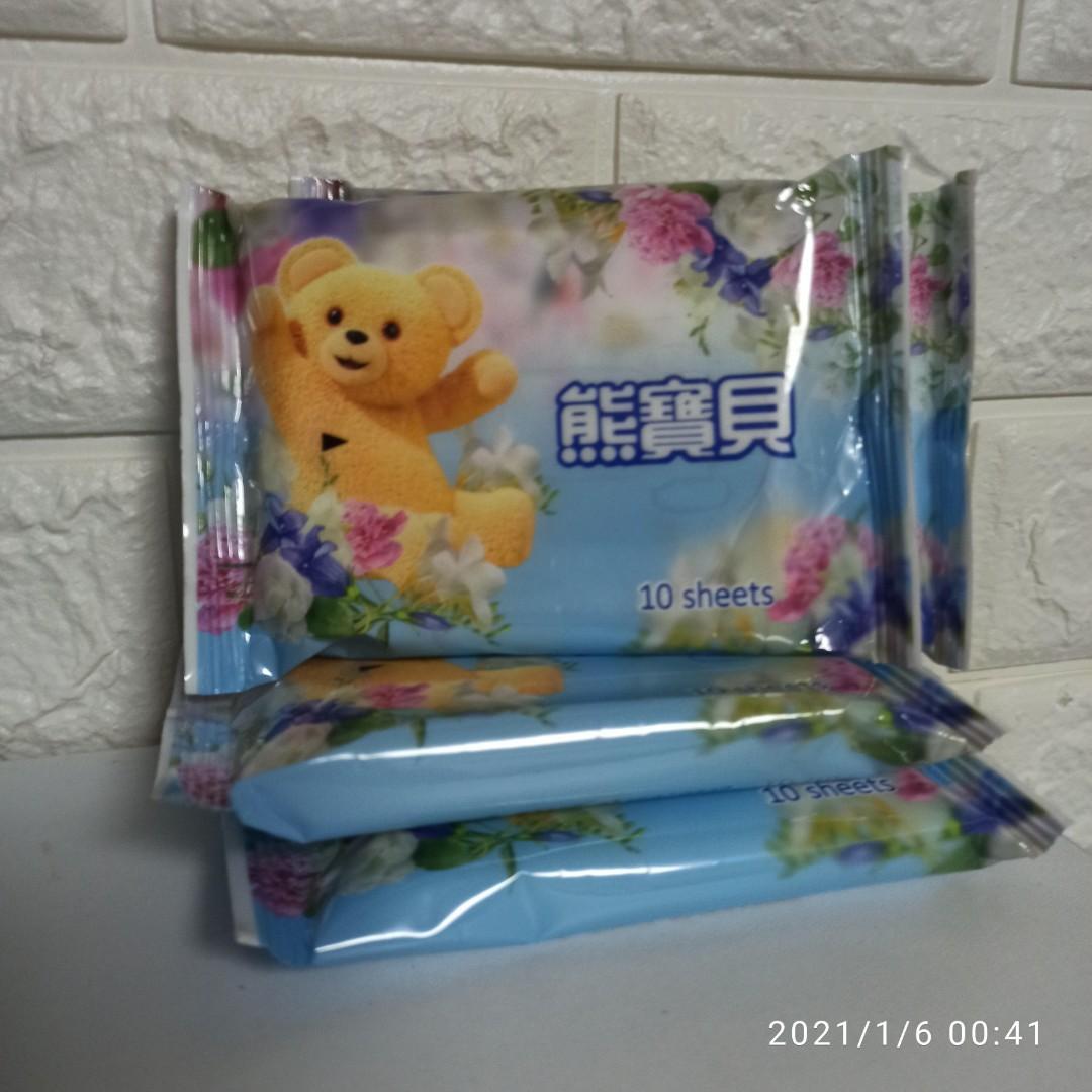康乃馨潔膚濕紙巾隨手包10片裝-熊寶貝限定版10包