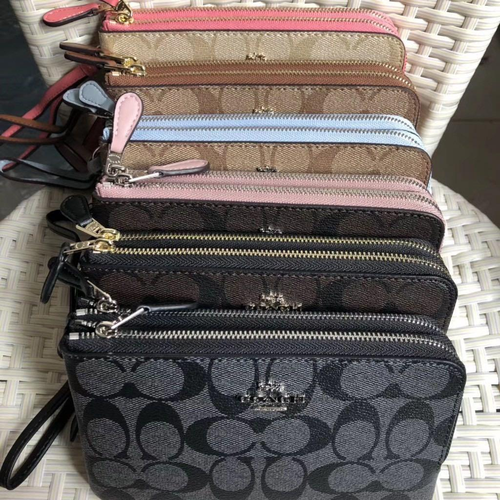 預購7-14天限時特賣 COACH87591女士手腕包 皮夾 中夾 零錢包 手機包 手拿包 防刮皮革錢包 女生雙拉鏈手提包 付購證