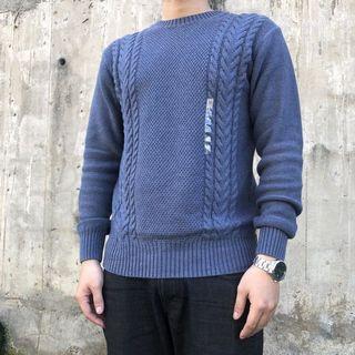 無印良品 MUJI 圓領針織衫 毛衣 煙燻藍
