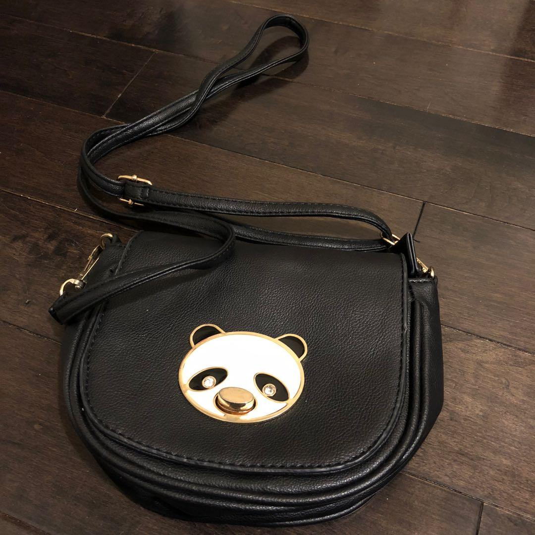 Black leather side bag purse with kawaii panda motif Excellent condition