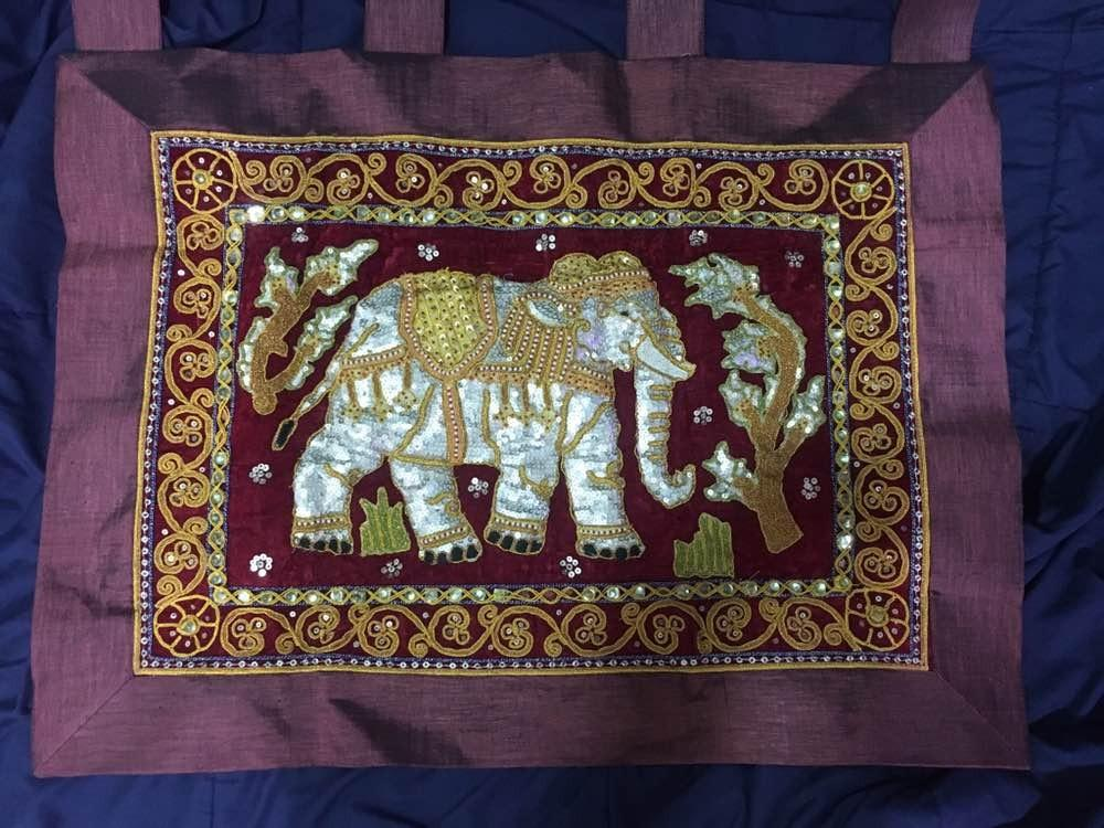 Embroidered Indian Decorative Beaded Elephant Wall Hanging Curtain