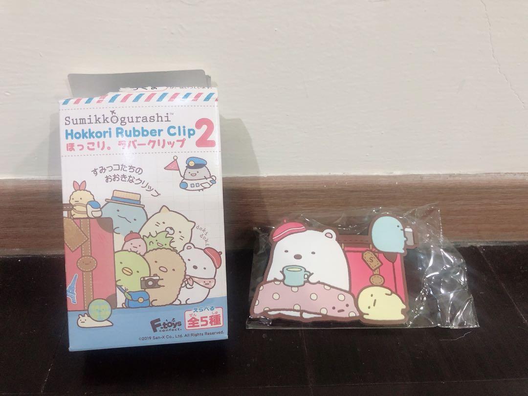 F-toys 全新日本正版 角落生物 角落小伙伴 夾子 文件夾子 白熊 hokkori rubber clip2