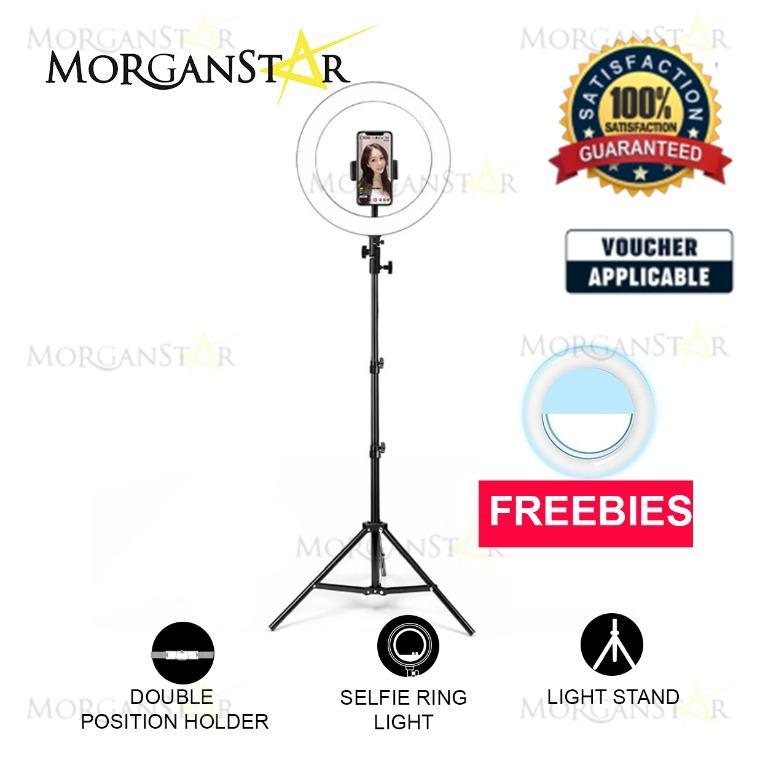 MORGANSTAR 26cm Ring light w/ Phone Holder + 160 cm Tripod + Freebie Selfie Ring