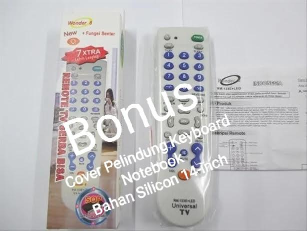 "Remote TV Universal + Senter RM-133E+LED ""Wonder 8"". Bonus Cover Pelindung Keyboard Notebook  Bahan Silicon 14-inch"