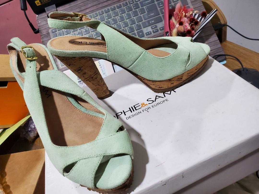 Sophie&Sam果綠色麂皮高跟鞋