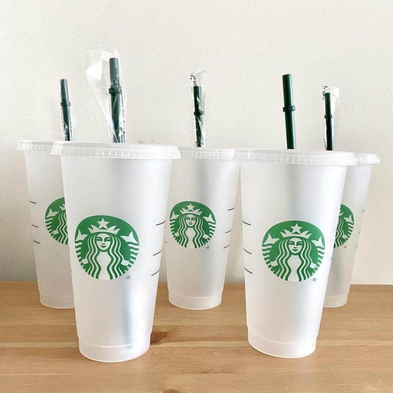 Starbucks Venti tumbler cup with straw