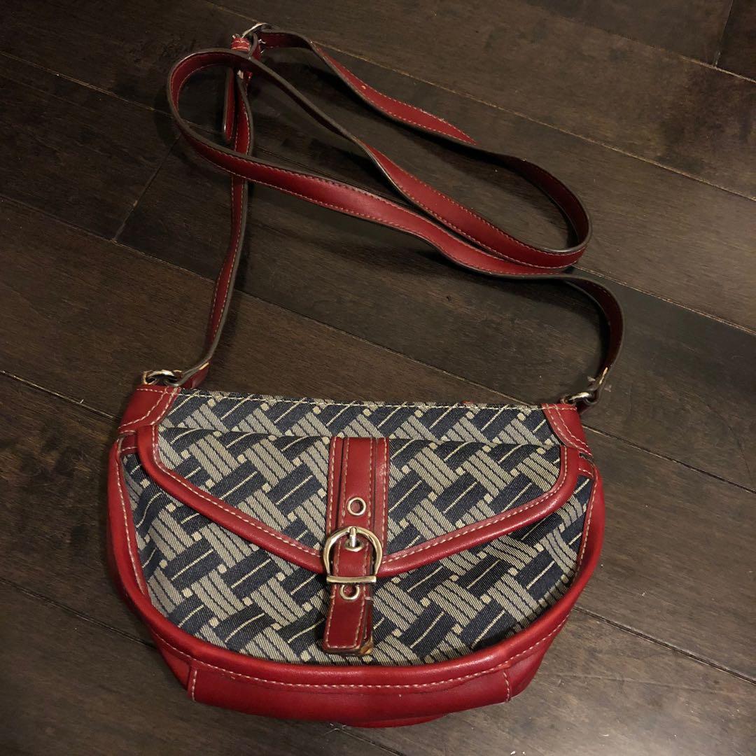 Vintage denim leather bag