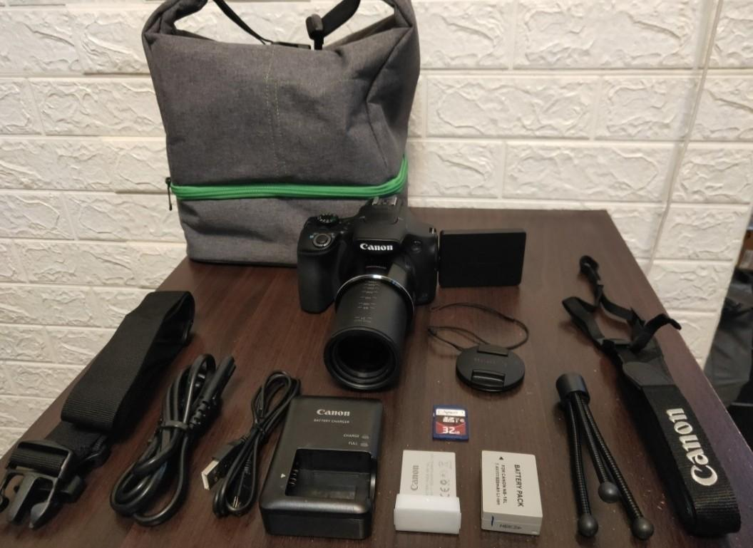 WiFi camera,CANON SX60IS(260X ZOOM)+BAG NEW+2 BATTERY+SD CARD+STRAP+CHARGER