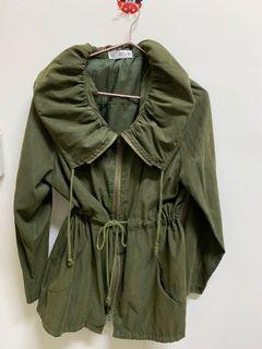 軍綠韓風綁帶薄外套