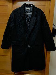 鋪棉長版粗毛大衣(黑)