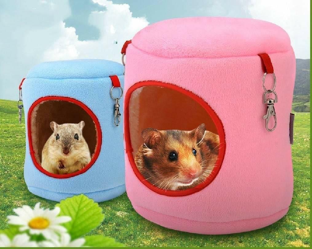 圓筒保暖棉吊窩 適合各式小寵物 (藍色  )