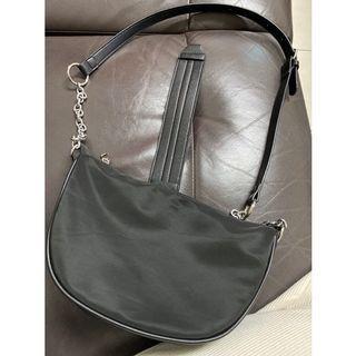 新款韓版極簡冷淡復古風新月黑色鏈條腋下包單肩包 法棍包 側背包 韓國包包 尼龍佈包包 包包女